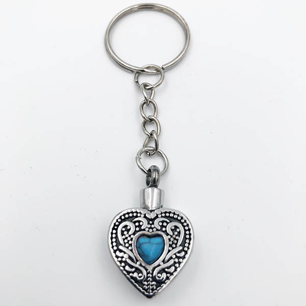 Blue Heart Cremation Keychain