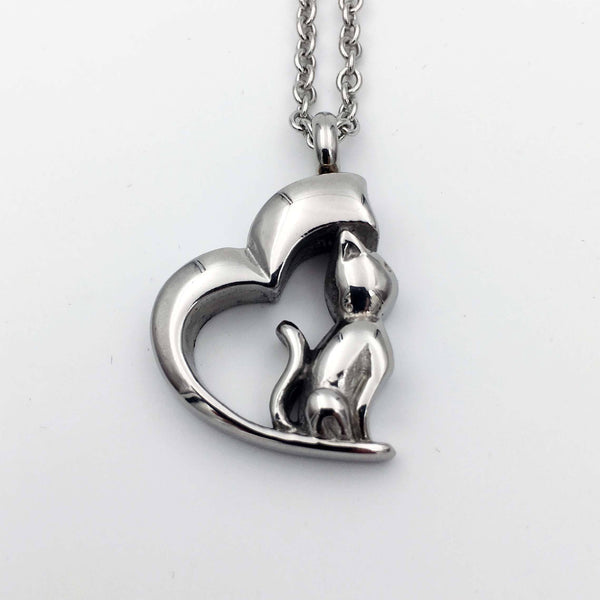Cremation Jewelry Necklace for Ashes - Cat In My Heart