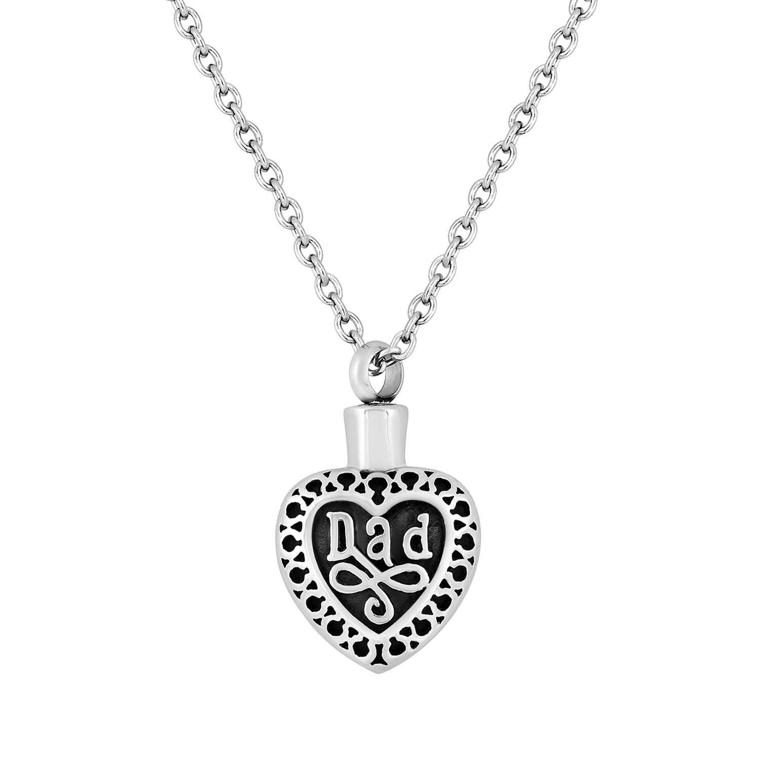 Cremation Jewelry Necklace for Ashes - Dad Heart