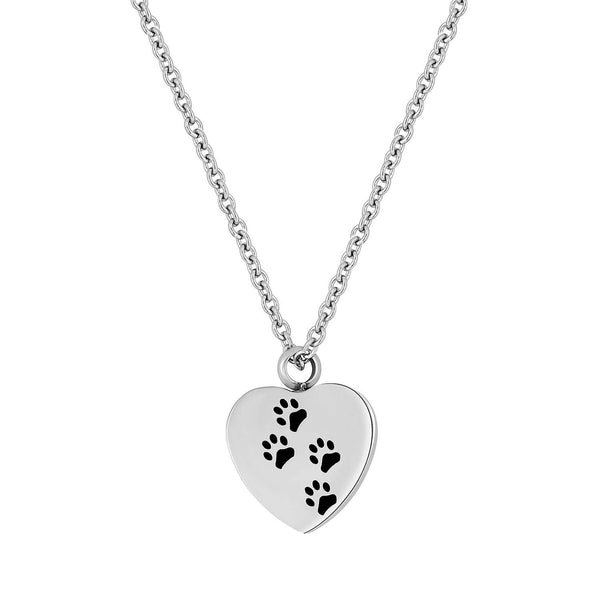 Cremation Jewelry Necklace for Pet Ashes - Dog Paw Heart