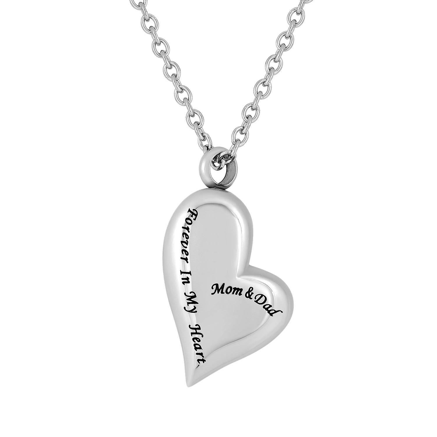 Cremation Jewelry Necklace for Ashes - Mom And Dad Forever In My Heart