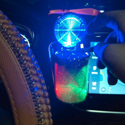 Portable LED Light Car Ashtray - Cup Holder With Lid