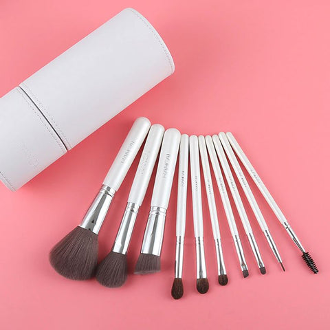 10pcs Professional Makeup Brushes Kabuki Eyeshadow Set With Holder Leather Case