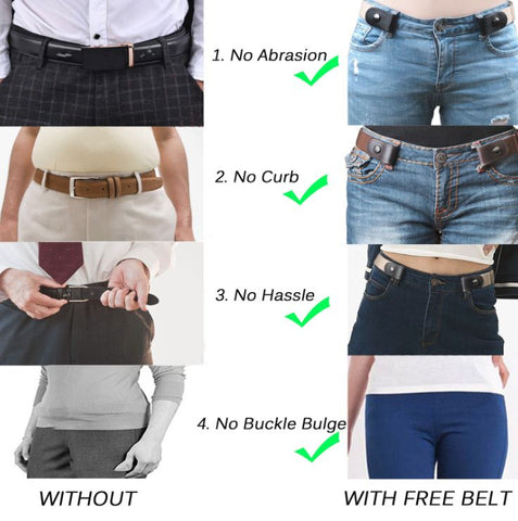 Invisible Buckle Free Elastic Ladies Girls Belt