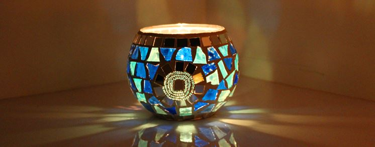 Glass Candle Holder - Romantic Mosaic Home Decoration