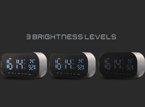 Mirrored Alarm Clock Modern Digital LED - FM Radio - Bluetooth