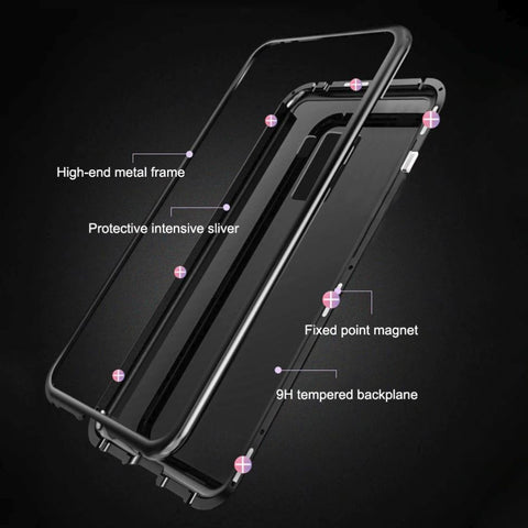 Tempered Glass Magnetic Cell Phone Case for Android iPhone Samsung