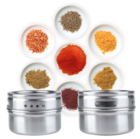 Stainless Steel Magnetic Spice Rack With Jars And Holder