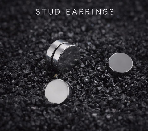 Round Stud Magnetic Earrings For Men Stainless Steel
