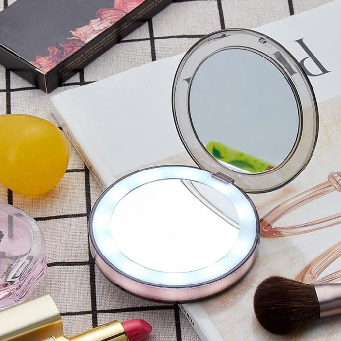 Compact Light Up Mirror For Makeup With LED Lights
