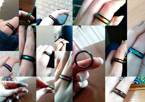 Black Titanium Mood Ring Temperature Color Change