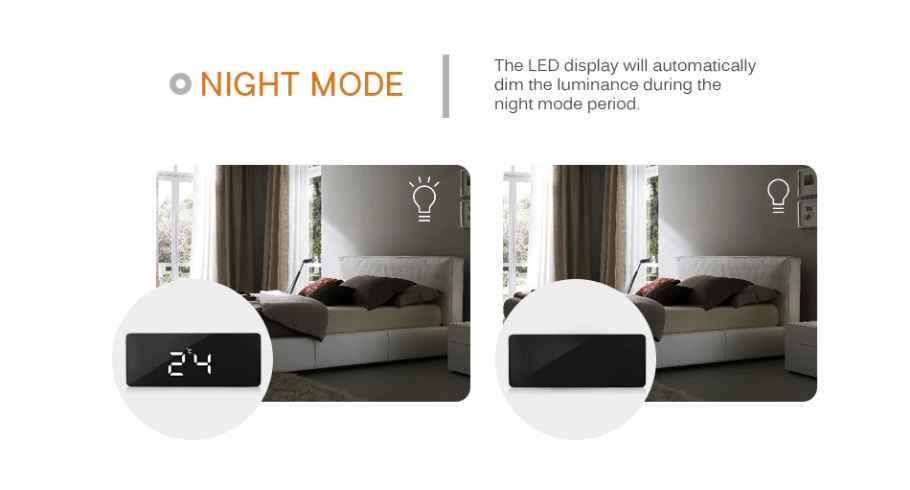 Mirrored Alarm Clock Digital LED Modern Design