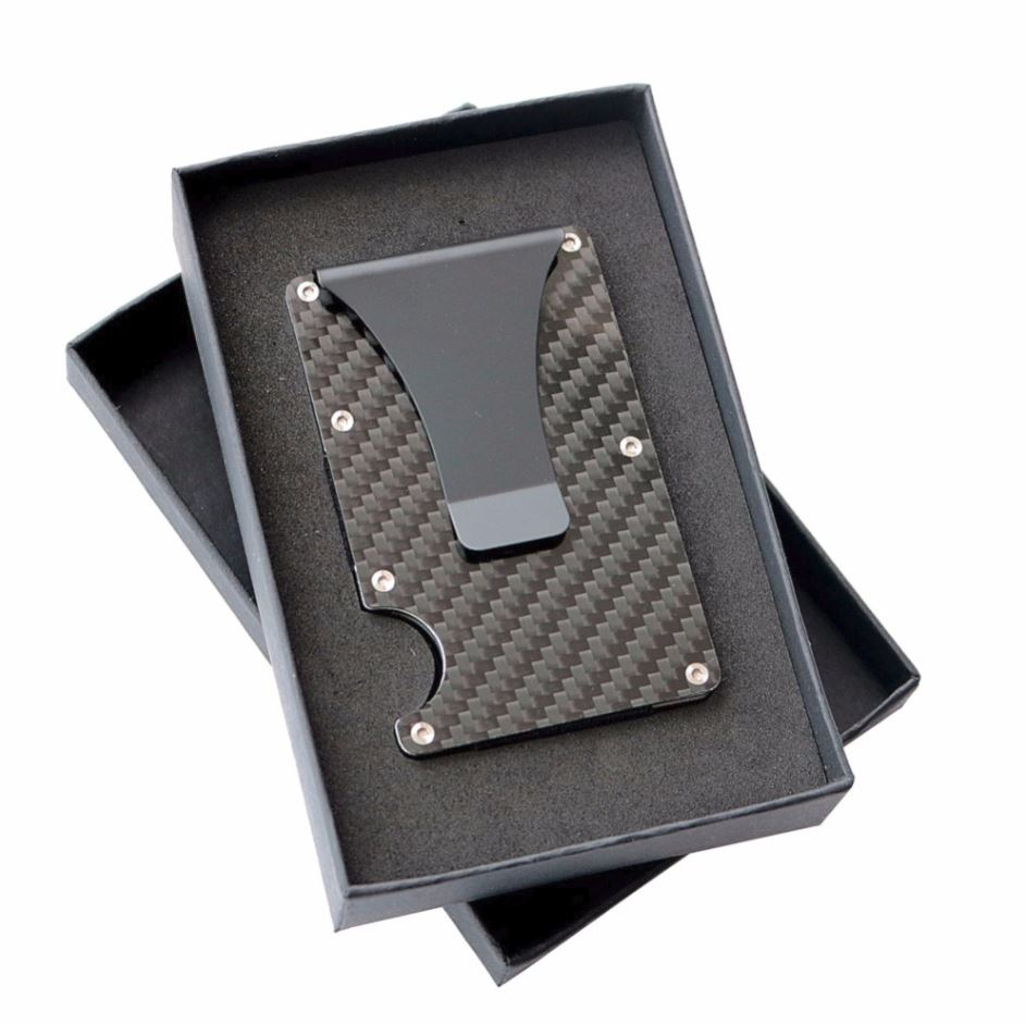 Mens Carbon Fiber RFID Wallet Card Holder Money Clip
