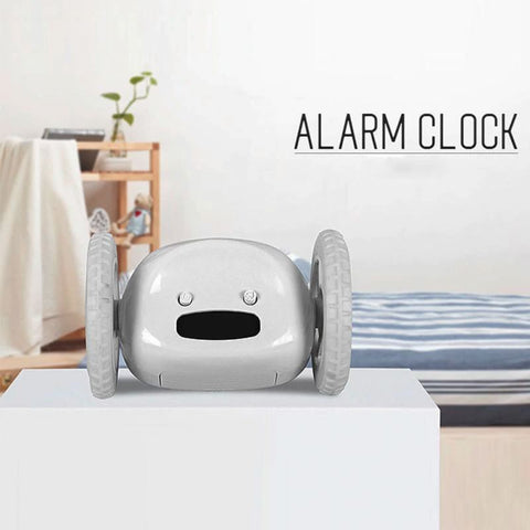 Runaway Alarm Clock Digital LCD Running Clocky Wheels