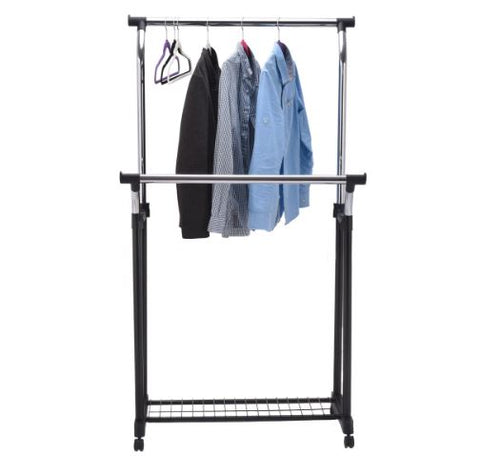 Adjustable Portable Clothes Rack With Double Rail