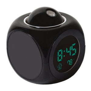 Digital Projection Alarm Clock For Kids - Temperature Display Alarm Clock MojoTrend Black