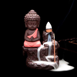 Monk Buddha Waterfall Incense Holder Ceramic Backflow Burner For Cones Sticks Incense Burner MojoTrend Red