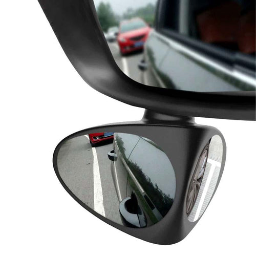 Stick On Side Blind Spot Mirror For Car - Wide Angle 360 Rotation Blind Spot Mirror MojoTrend Black-Left