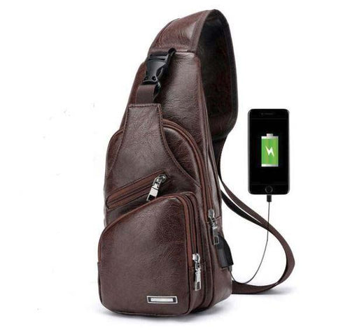 Faux Leather Crossbody Bag For Men With USB Cable Hole Crossbody Bag MojoTrend Brown