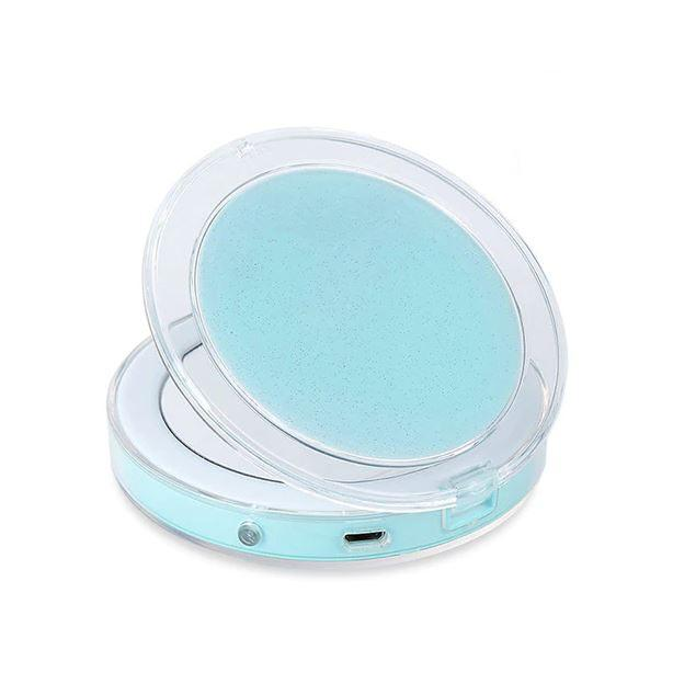 Compact Light Up Mirror For Makeup With LED Lights Compact Makeup Mirror MojoTrend Blue
