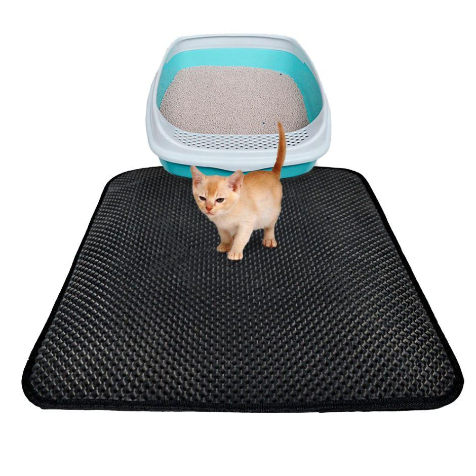 Kitty Cat Litter Box Mat - Pet Double-Layer Trapper Rug Litter Mat MojoTrend Black 15.7 x 19.6 in