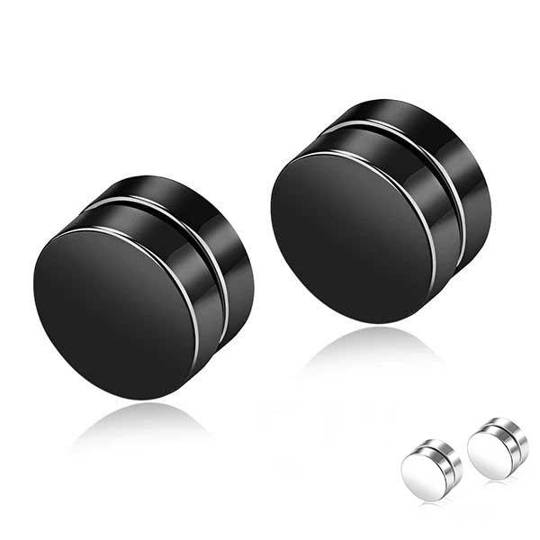 Round Stud Magnetic Earrings For Men Stainless Steel Earrings MojoTrend 6mm black
