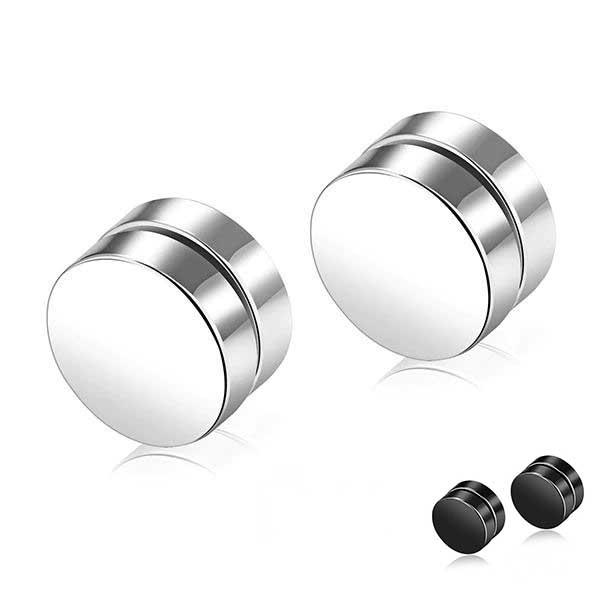 Round Stud Magnetic Earrings For Men Stainless Steel Earrings MojoTrend 6mm white