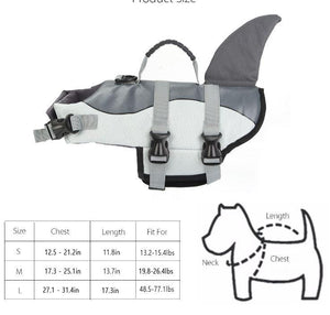 Dog Water Flotation Life Jacket - Pet Swim Shark Vest Dog Life Jacket MojoTrend