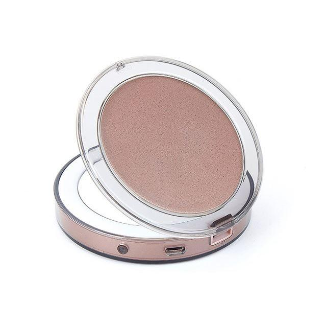 Compact Light Up Mirror For Makeup With LED Lights Compact Makeup Mirror MojoTrend Light Brown