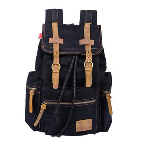 Large Vintage Canvas Backpack backpack MojoTrend Black
