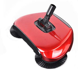 Cordless Floor Magic Broom Sweeper - Stainless Steel Hand Push Cleaner Floor Broom Sweeper MojoTrend Red