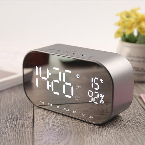 Mirrored Alarm Clock Modern Digital LED - FM Radio - Bluetooth Alarm Clock MojoTrend