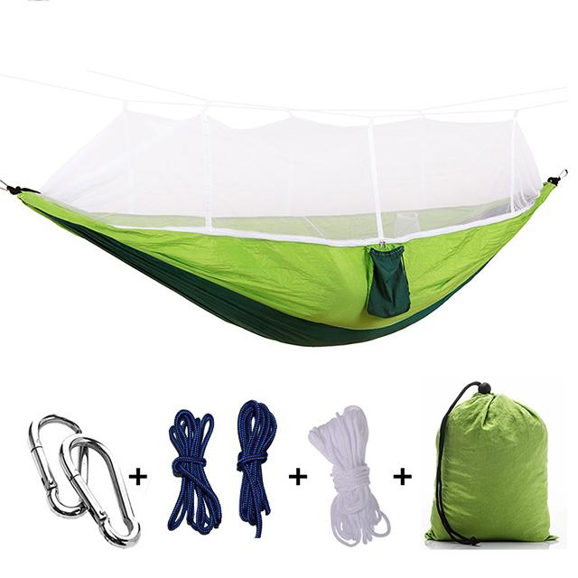 Ultralight Camping Hammock with Bug Mosquito Net 2 Person Hammock MojoTrend Green-Black