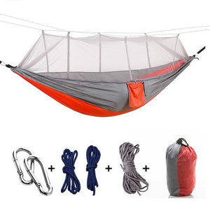 Ultralight Camping Hammock with Bug Mosquito Net 2 Person Hammock MojoTrend Grey-Red