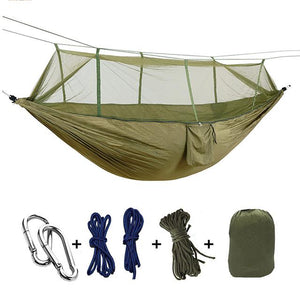 Ultralight Camping Hammock with Bug Mosquito Net 2 Person Hammock MojoTrend Khaki