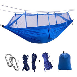 Ultralight Camping Hammock with Bug Mosquito Net 2 Person Hammock MojoTrend Dark Blue