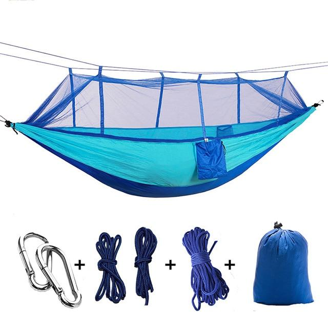 Ultralight Camping Hammock with Bug Mosquito Net 2 Person Hammock MojoTrend Light Blue