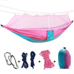 Ultralight Camping Hammock with Bug Mosquito Net 2 Person Hammock MojoTrend Pink-Blue
