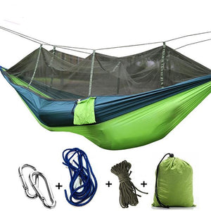 Ultralight Camping Hammock with Bug Mosquito Net 2 Person Hammock MojoTrend Blue-Green