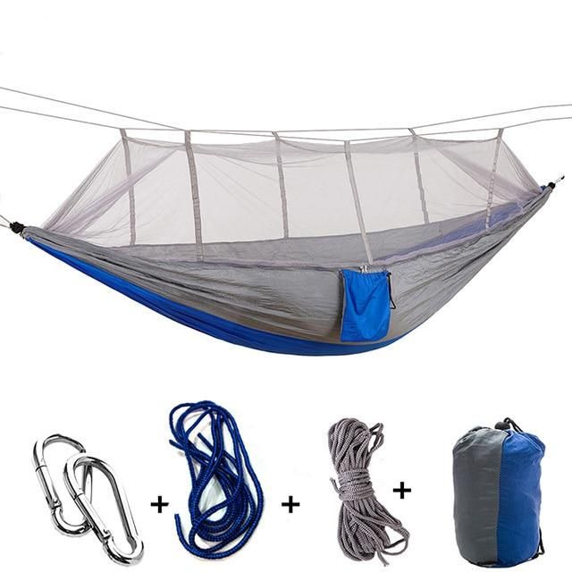 Ultralight Camping Hammock with Bug Mosquito Net 2 Person Hammock MojoTrend Grey