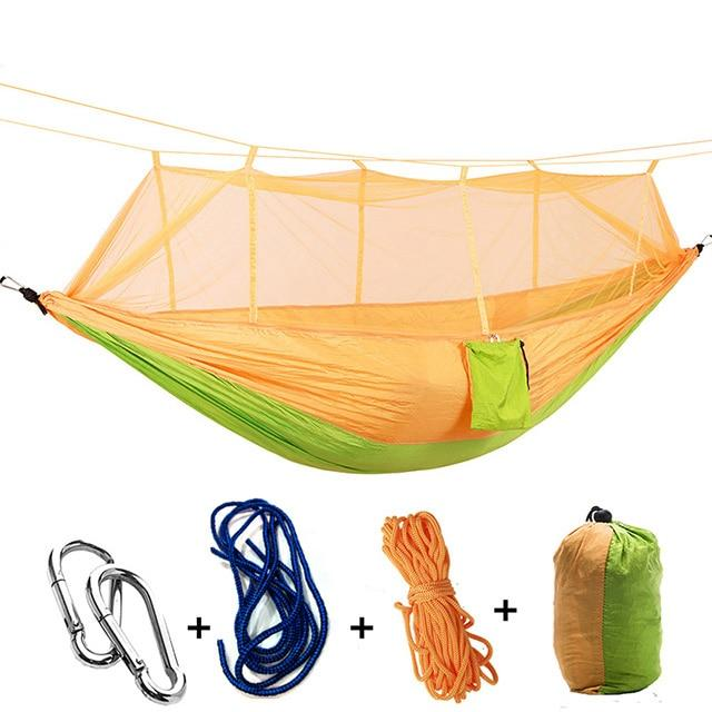 Ultralight Camping Hammock with Bug Mosquito Net 2 Person Hammock MojoTrend Orange-Green