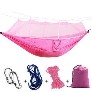 Ultralight Camping Hammock with Bug Mosquito Net 2 Person Hammock MojoTrend Pink