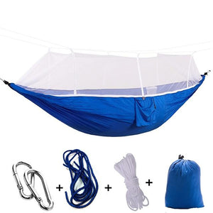 Ultralight Camping Hammock with Bug Mosquito Net 2 Person Hammock MojoTrend Dark Blue - White Net