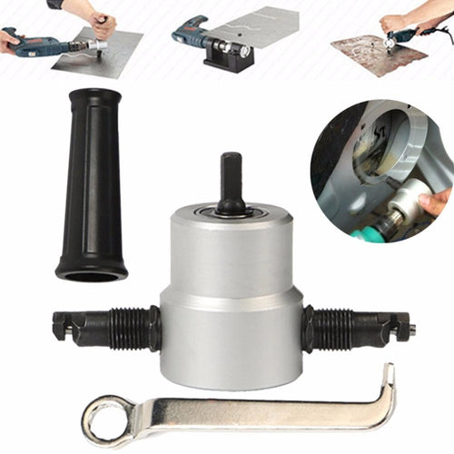 Sheet Metal Nibbler Tool - Double Head Drill Attachment Cutter Metal Nibbler Tool MojoTrend