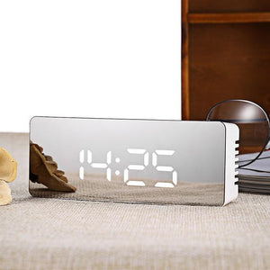 Mirrored Alarm Clock Digital LED Modern Design Alarm Clock MSA Rectangle