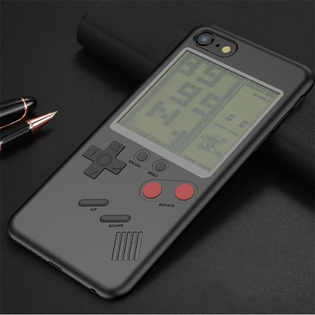 Gameboy Style Gamer Phone Case Tetris Cover For iPhone Phone Case MojoTrend Black For iPhone 8