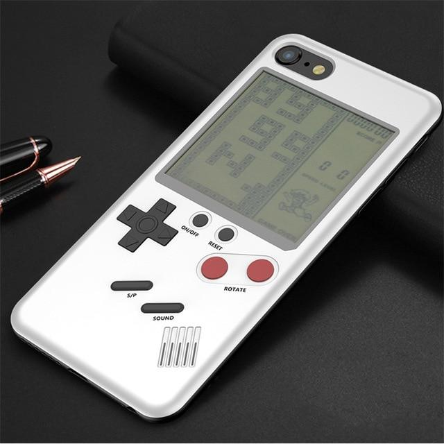 Gameboy Style Gamer Phone Case Tetris Cover For iPhone Phone Case MojoTrend White For iPhone 8