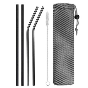 Stainless Steel Drinking Reusable Straws With Cleaning Brush