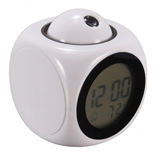 Digital Projection Alarm Clock For Kids - Temperature Display Alarm Clock MojoTrend White