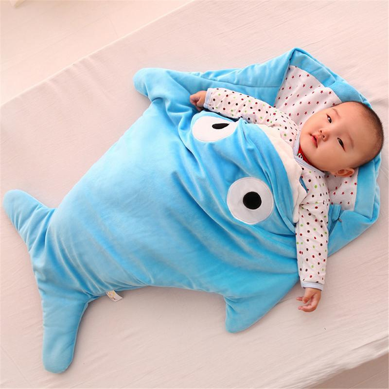 Baby Plush Shark Sleeping Bag Baby Sleeping Bag MojoTrend Blue